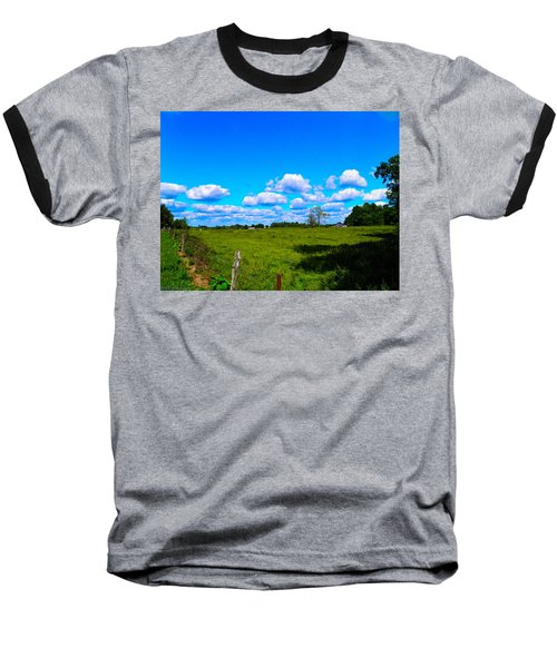 Fence Row And Clouds Baseball T-Shirt