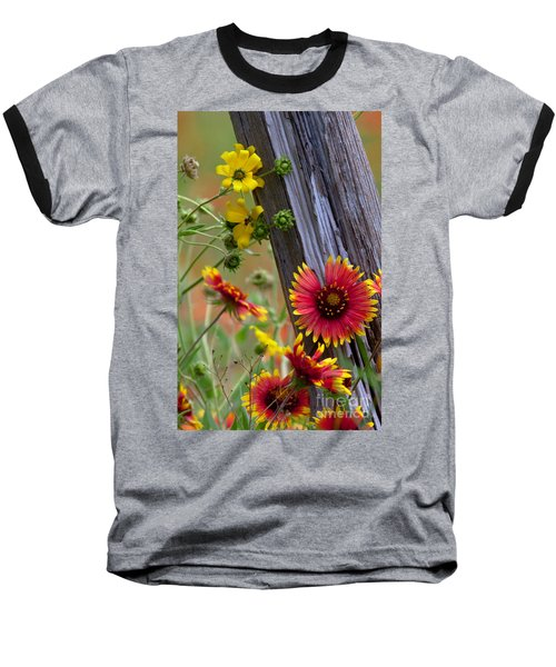 Fenceline Wildflowers Baseball T-Shirt