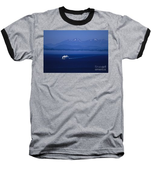 Ferry Boat In Puget Sound With Olympic Mountains Baseball T-Shirt