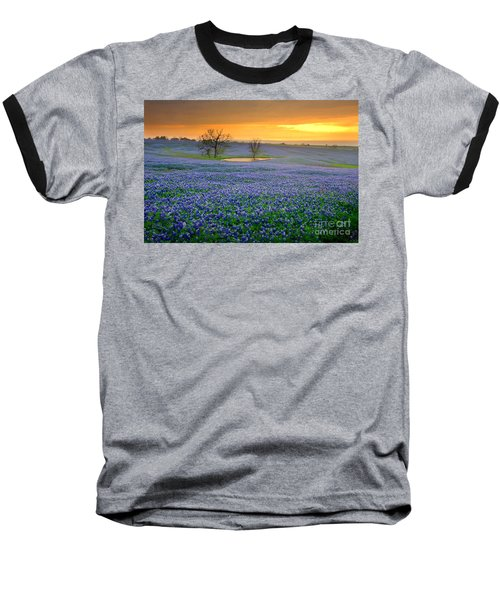 Field Of Dreams Texas Sunset - Texas Bluebonnet Wildflowers Landscape Flowers  Baseball T-Shirt