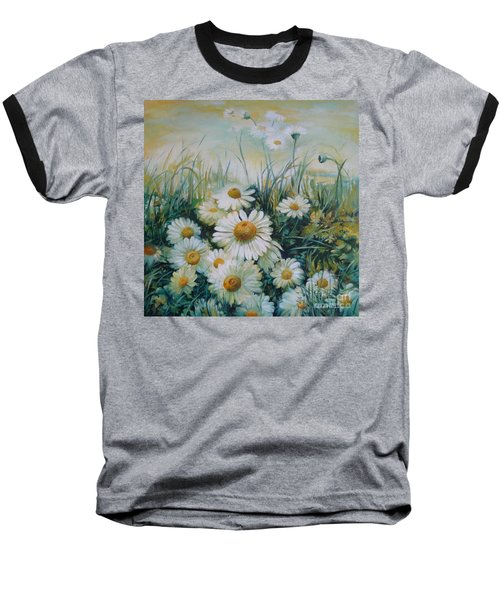 Baseball T-Shirt featuring the painting Field Of Flowers by Elena Oleniuc