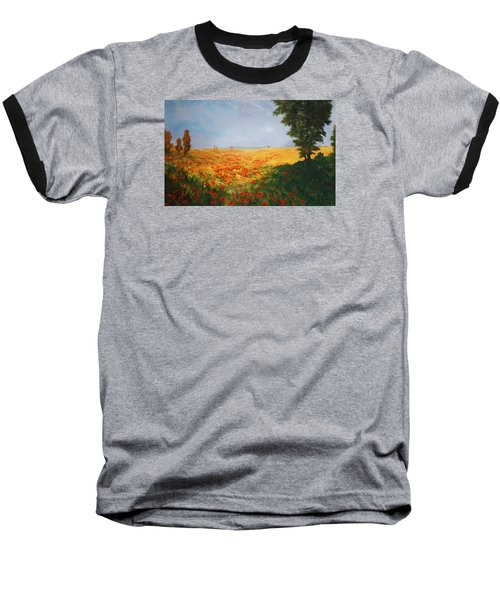 Field Of Poppies Baseball T-Shirt by Jean Walker