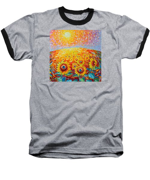 Fields Of Gold - Abstract Landscape With Sunflowers In Sunrise Baseball T-Shirt by Ana Maria Edulescu