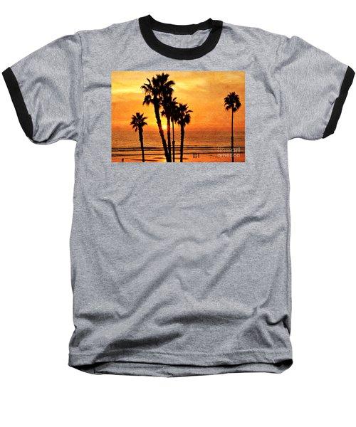 Fiery California Sunset Oceanside Beach Baseball T-Shirt