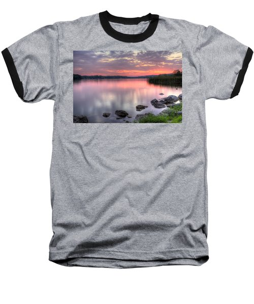 Fiery Lake Sunset Baseball T-Shirt