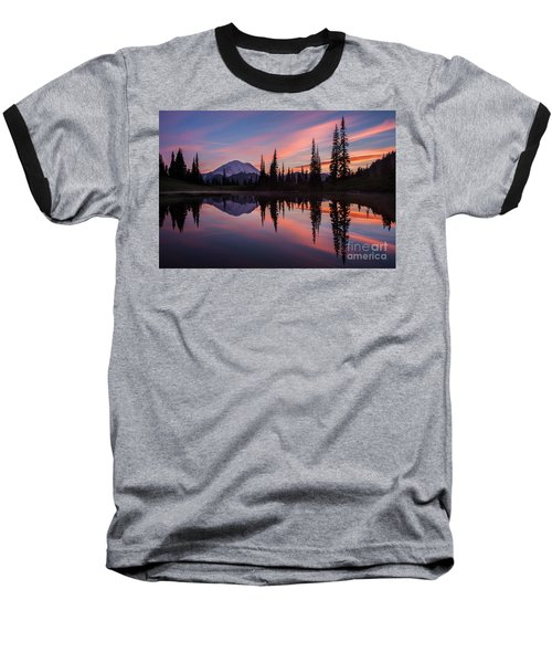 Fiery Rainier Sunset Baseball T-Shirt by Mike Reid