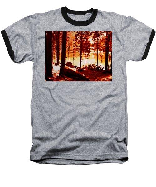 Fiery Red Landscape Baseball T-Shirt