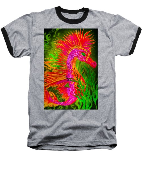 Baseball T-Shirt featuring the painting Fiery Sea Horse by Adria Trail