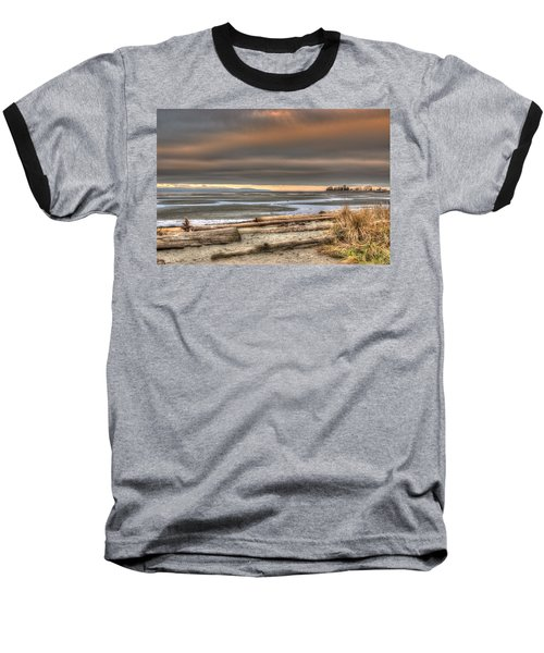 Fiery Sky Over The Salish Sea Baseball T-Shirt