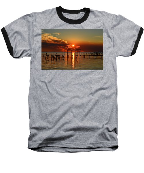 Baseball T-Shirt featuring the photograph Fiery Sunset Colors Over Santa Rosa Sound by Jeff at JSJ Photography