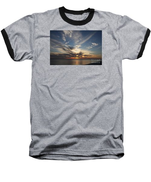 Baseball T-Shirt featuring the photograph Fiery Sunset Skys by Christiane Schulze Art And Photography