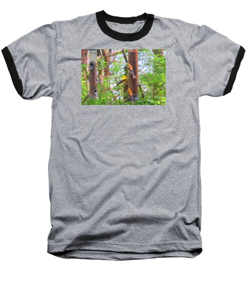 Baseball T-Shirt featuring the photograph Finches Enjoying Their Snack by Tina M Wenger