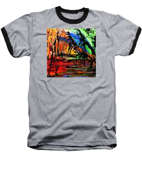 Fire And Flood Baseball T-Shirt by Helen Syron
