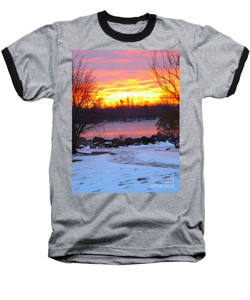 Fire And Ice Sunrise On The Delaware River Baseball T-Shirt
