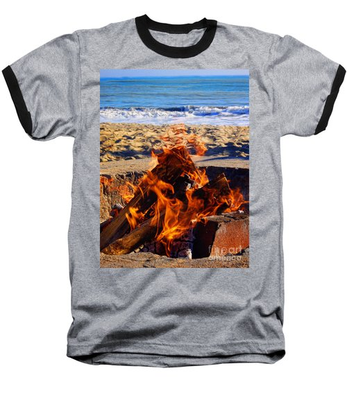 Baseball T-Shirt featuring the photograph Fire At The Beach by Mariola Bitner