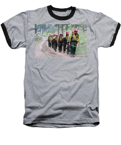 Fire Crew Walks To Their Assignment On Myrtle Fire Baseball T-Shirt by Bill Gabbert
