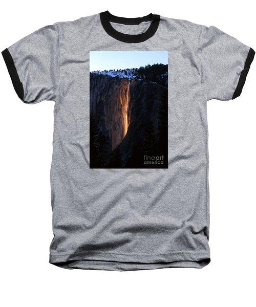 Fire Falls In Yosemite  Baseball T-Shirt