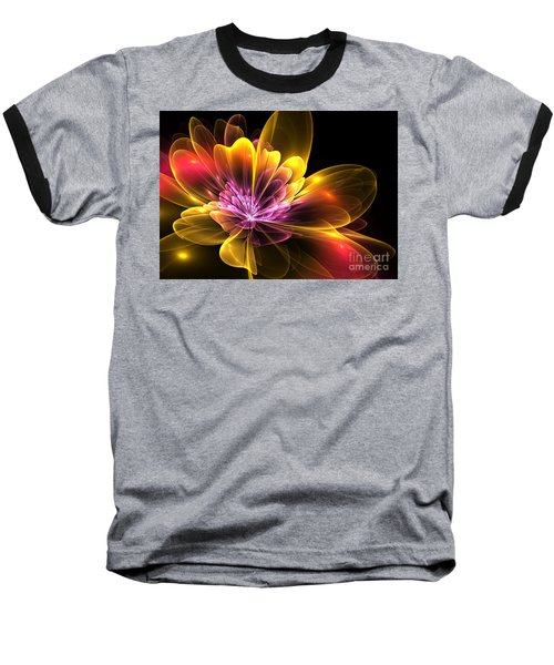 Baseball T-Shirt featuring the digital art Fire Flower by Svetlana Nikolova