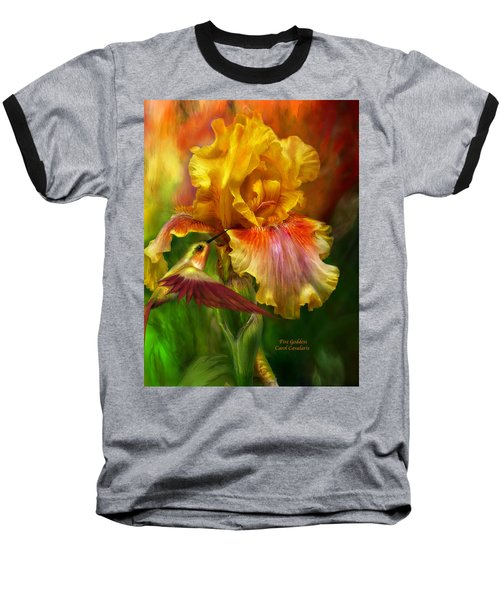Baseball T-Shirt featuring the mixed media Fire Goddess by Carol Cavalaris
