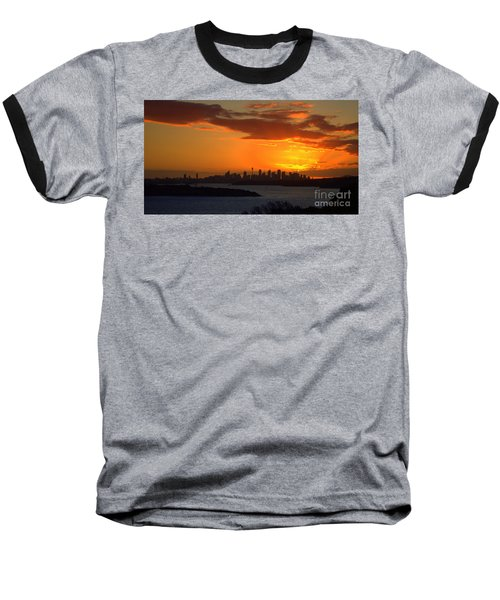 Fire In The Sky Baseball T-Shirt by Miroslava Jurcik