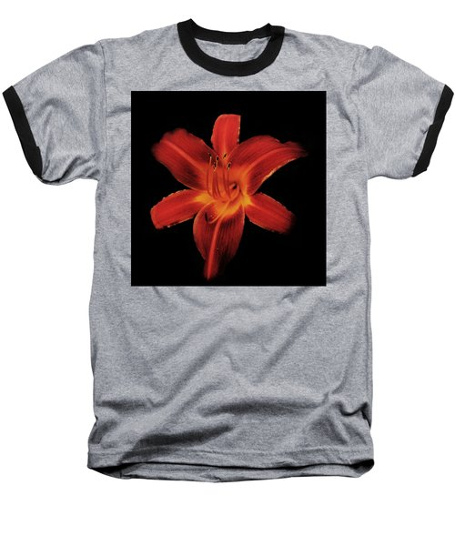 Fire Lily Baseball T-Shirt by Michael Porchik