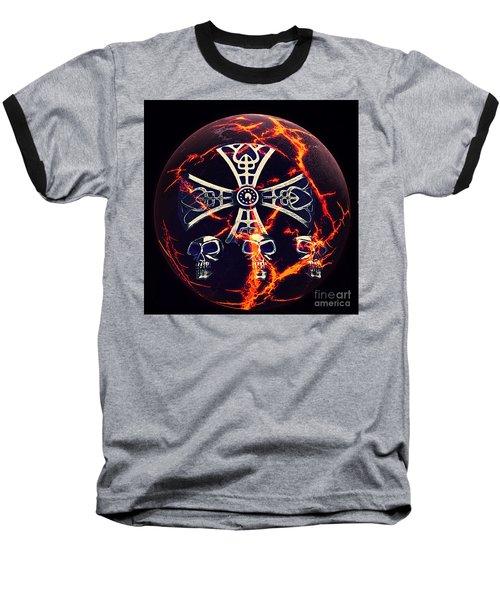 Fire Skulls Baseball T-Shirt