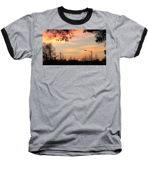 Fire Sky Baseball T-Shirt by Thomasina Durkay