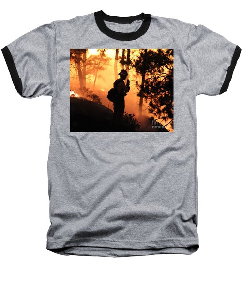 Firefighter At Night On The White Draw Fire Baseball T-Shirt