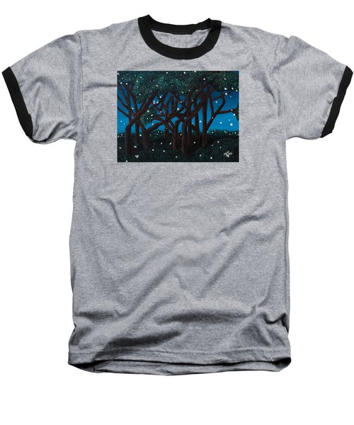 Baseball T-Shirt featuring the painting Fireflies by Cheryl Bailey
