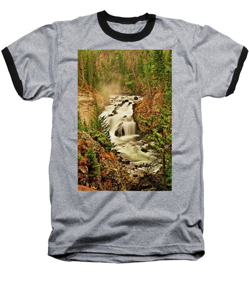 Firehole Falls Baseball T-Shirt by Greg Norrell