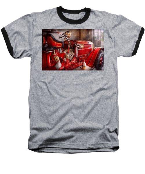 Fireman - Truck - Waiting For A Call Baseball T-Shirt by Mike Savad
