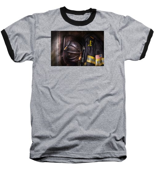 Fireman - Worn And Used Baseball T-Shirt by Mike Savad