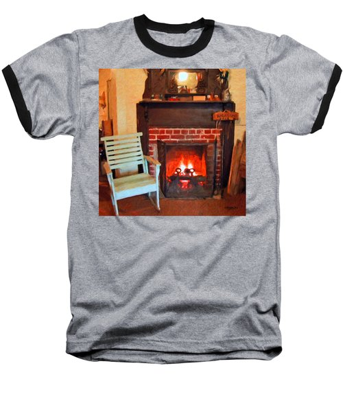 The Family Hearth - Fireplace Old Rocking Chair Baseball T-Shirt