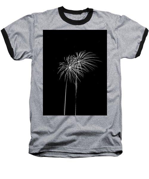 Firework Palm Trees Baseball T-Shirt by Darryl Dalton