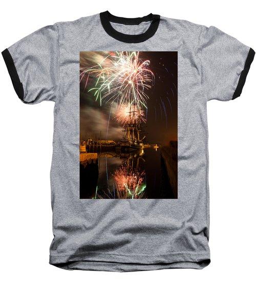 Fireworks Exploding Over Salem's Friendship Baseball T-Shirt by Jeff Folger