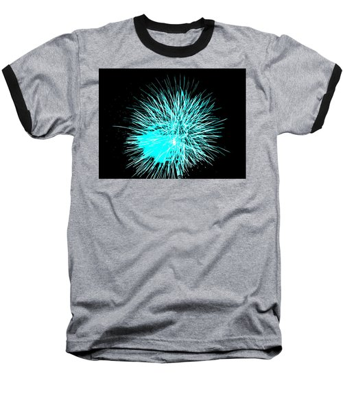 Fireworks In Blue Baseball T-Shirt by Michael Porchik