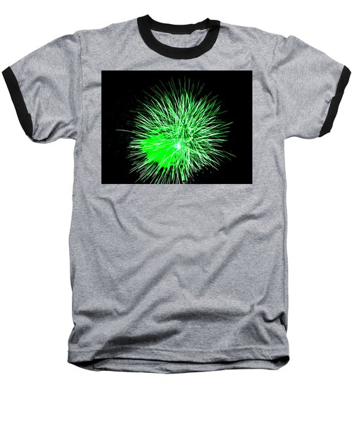 Fireworks In Green Baseball T-Shirt by Michael Porchik