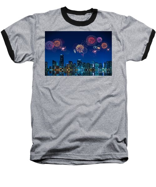 Fireworks In Miami Baseball T-Shirt by Carsten Reisinger