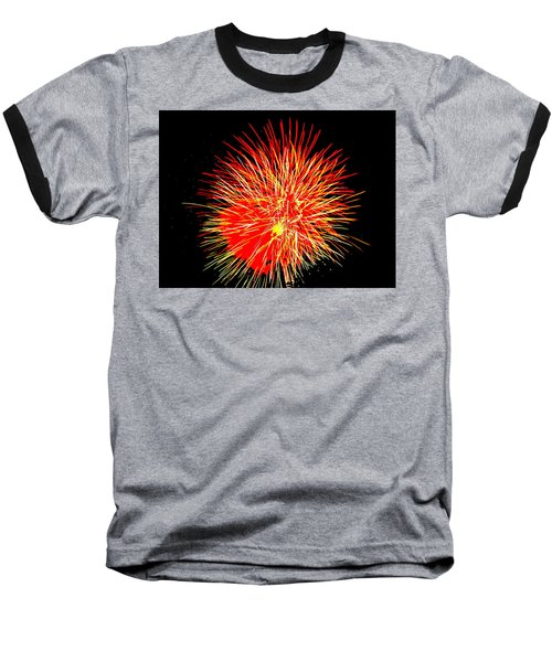 Baseball T-Shirt featuring the photograph Fireworks In Red And Yellow by Michael Porchik