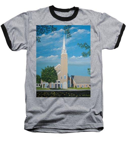 First Congregational Church Baseball T-Shirt by Norm Starks