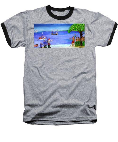 First Encounter Baseball T-Shirt by Bill Hubbard