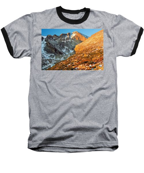 First Light At Longs Peak Baseball T-Shirt