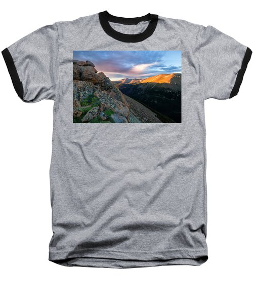 First Light On The Mountain Baseball T-Shirt by Ronda Kimbrow