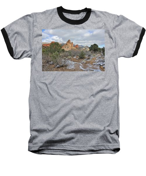 Baseball T-Shirt featuring the photograph First Snow At Garden Of The Gods by Diane Alexander