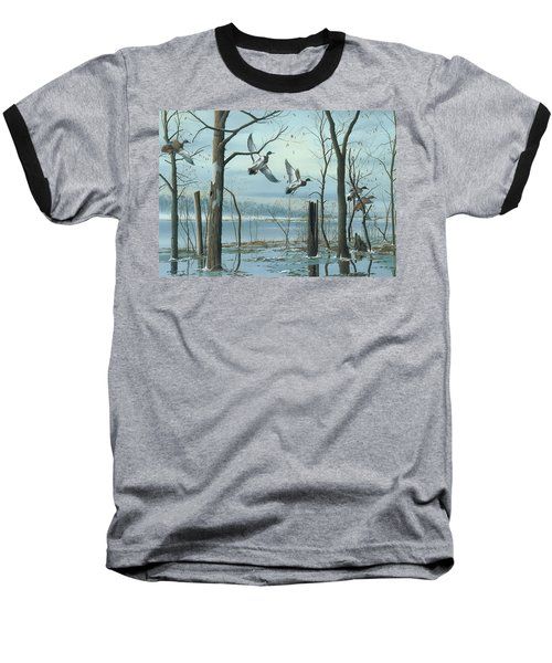 Baseball T-Shirt featuring the painting First Snow by Mike Brown
