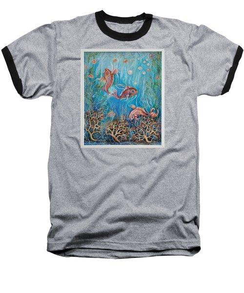 Fish In A Pond Baseball T-Shirt by Yolanda Rodriguez