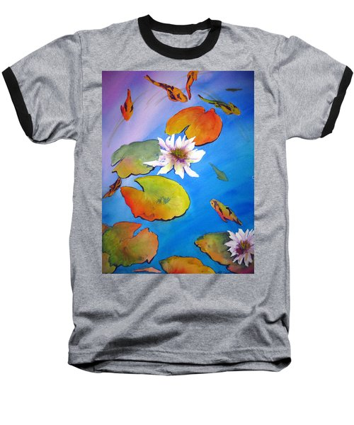 Baseball T-Shirt featuring the painting Fish Pond I by Lil Taylor