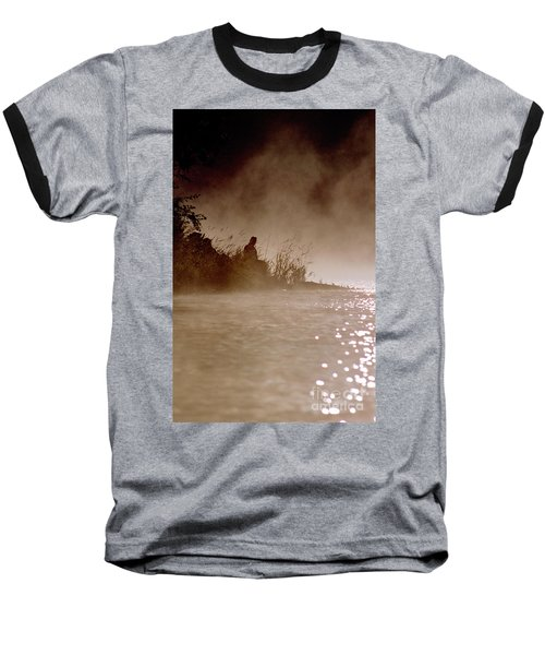 Fisher In The Mist Baseball T-Shirt by Sharon Elliott
