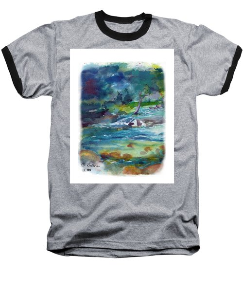 Baseball T-Shirt featuring the painting Fishin' Hole 2 by C Sitton