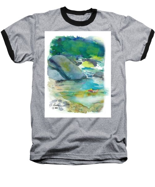 Baseball T-Shirt featuring the painting Fishin' Hole by C Sitton